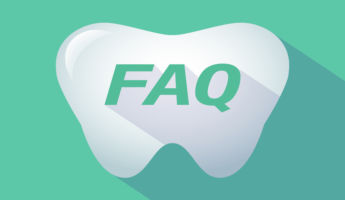 Illustration of a long shadow  tooth with    the text FAQ